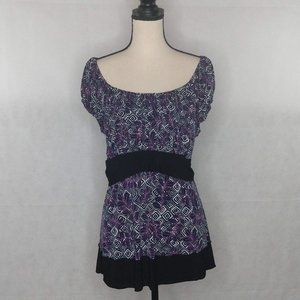 Lane Bryant Top Size 14/16 Purple On/Off Shoulders